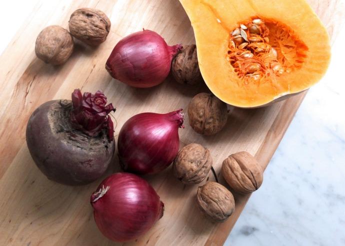 Roasted Butternut Squash, Beetroot & Walnut Salad ingredients