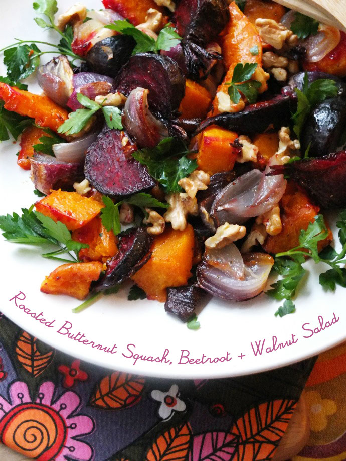 Roasted Butternut Squash, Beetroot & Walnut Salad My