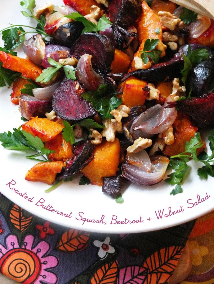 Roasted Butternut Squash, Beetroot & Walnut Salad recipe