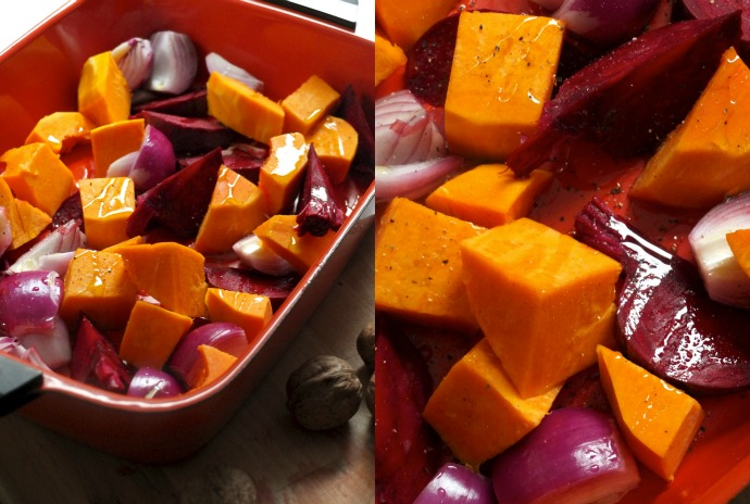 Roasted pumpkin and beetroot