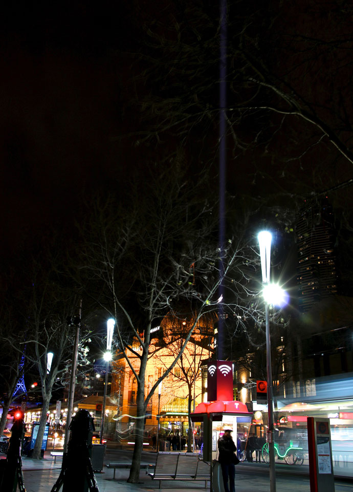 Swanston st Melbourne CBD Night Telstra AIr