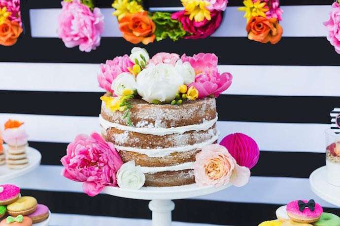 Black white and floral baby shower idea