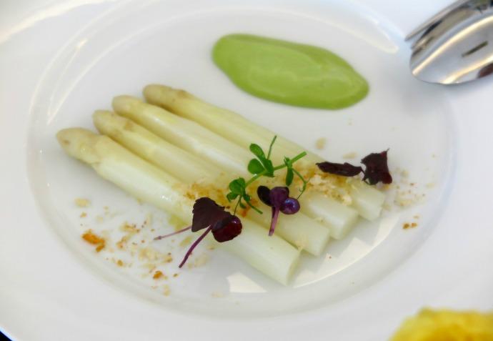 Asperges Blanches - warm white asparagus, herb vinaigrette with lemon crumbs.