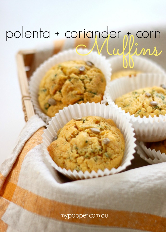 Polenta, Corn and Coriander (Cilantro) Muffin recipe - mypoppet.com.au