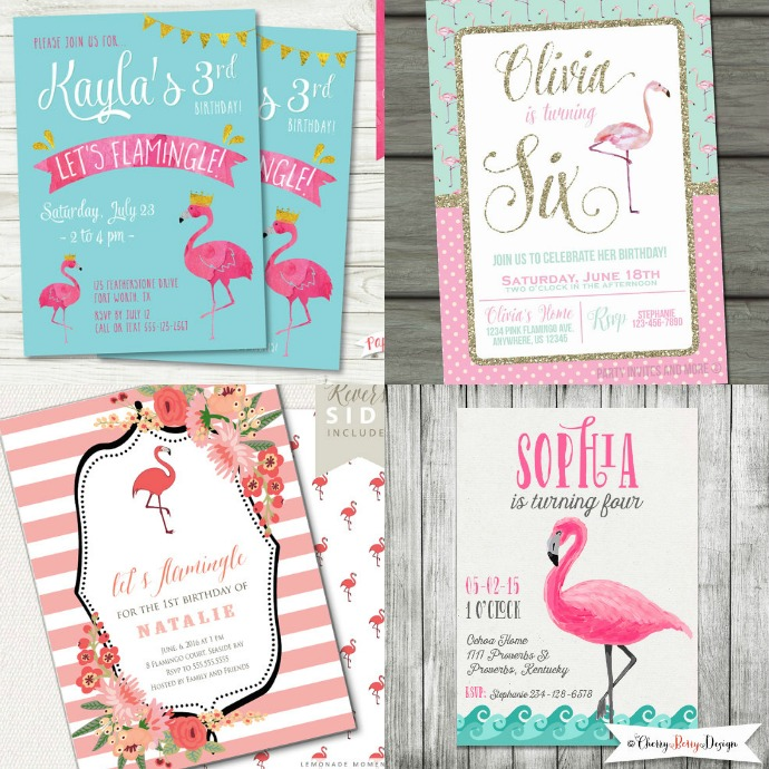 flamingo party invitations etsy