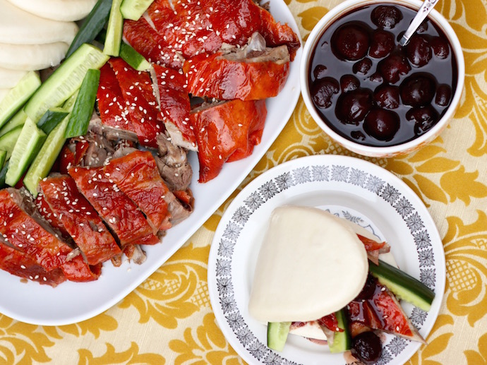 Chinese roast duck with cherry sauce