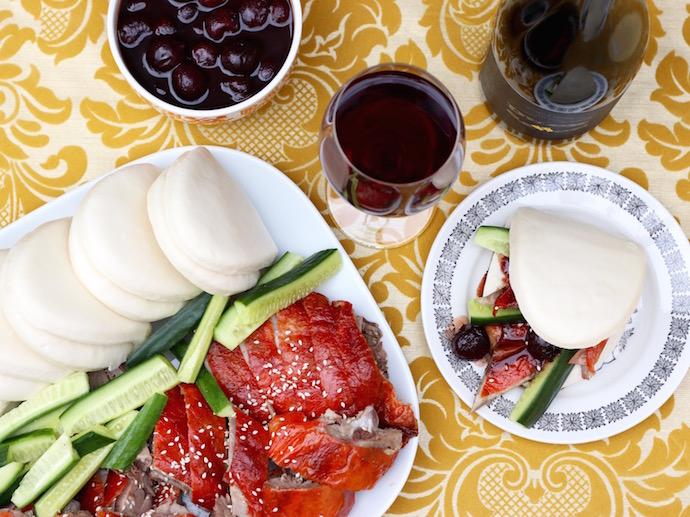Chinese Roast Duck Bao with Cherry Sauce