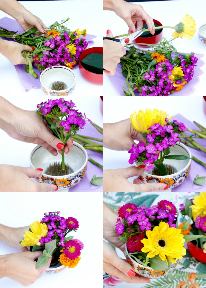 How to make a flower arrangement in a bowl