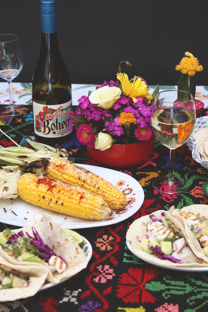 colourful mexican meal - fish tacos
