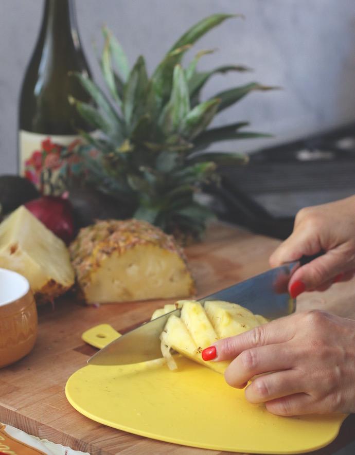 chopping pineapple - Pineapple salsa recipe