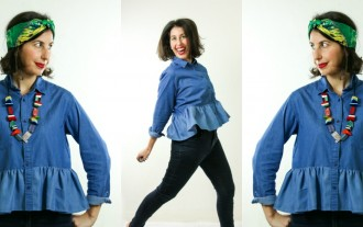 3 ways to wear a ruffled denim shirt