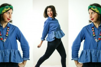 3 ways to wear a ruffled denim shirt