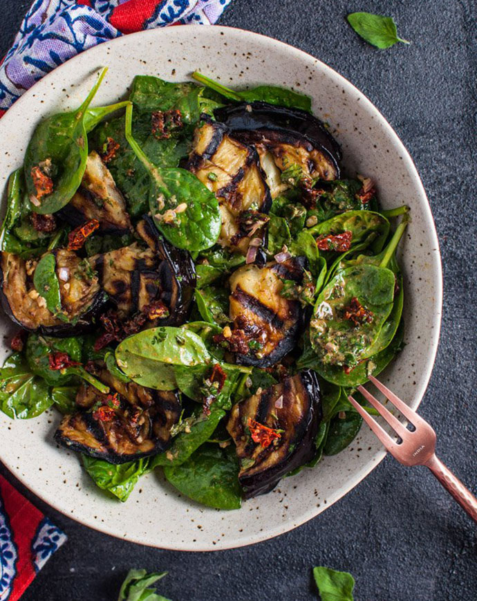 Grilled eggplant salad recipe
