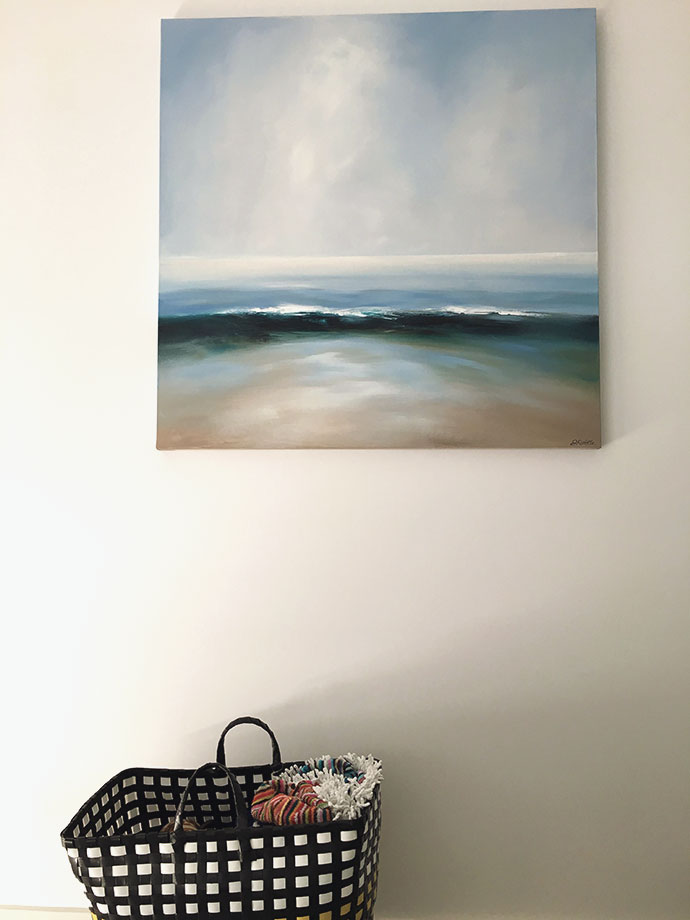 painting of ocean with beach bag mypoppet.com.au