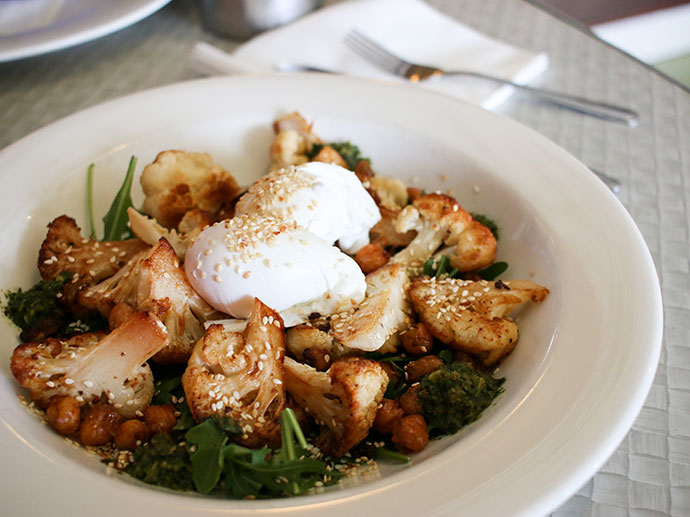 roasted cauliflower with poached eggs - where to eat in lorne