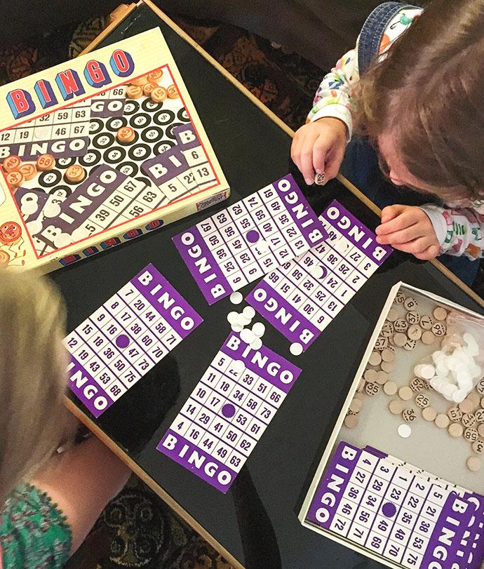 Girls playing bingo