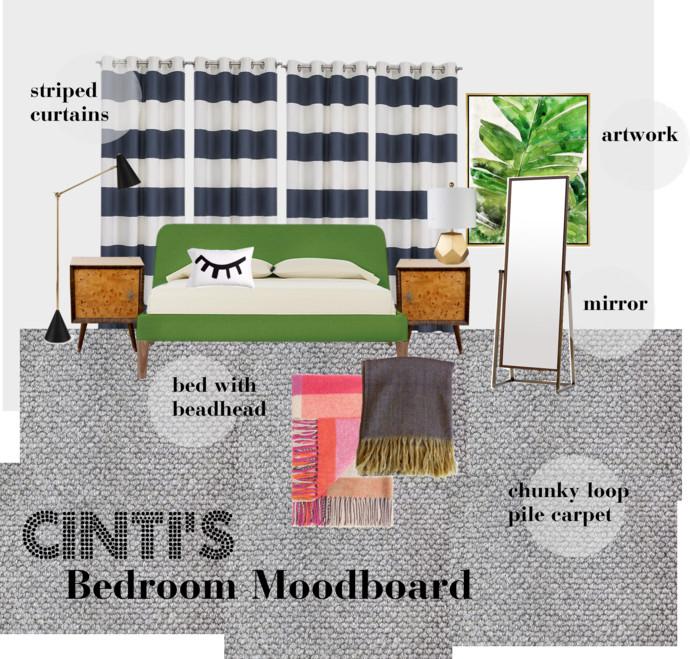 How to chose carpet - Bedroom makeover moodboard - mypoppet.com.au