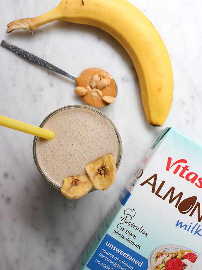 banana, peanut butter & ALMOND MILK milkshake recipe - mypoppet.com.au