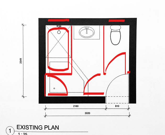 Original bathroom layout