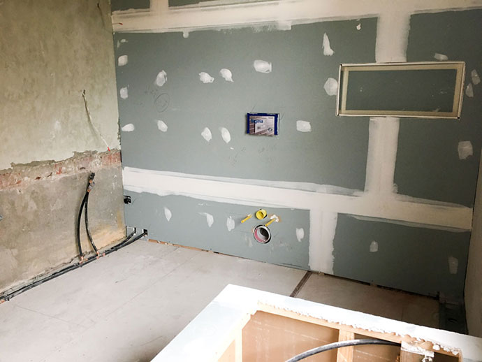 Bathroom renovation progress - plastering