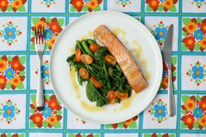 Easy Baked Salmon with Greens & Lemon Dijon Sauce