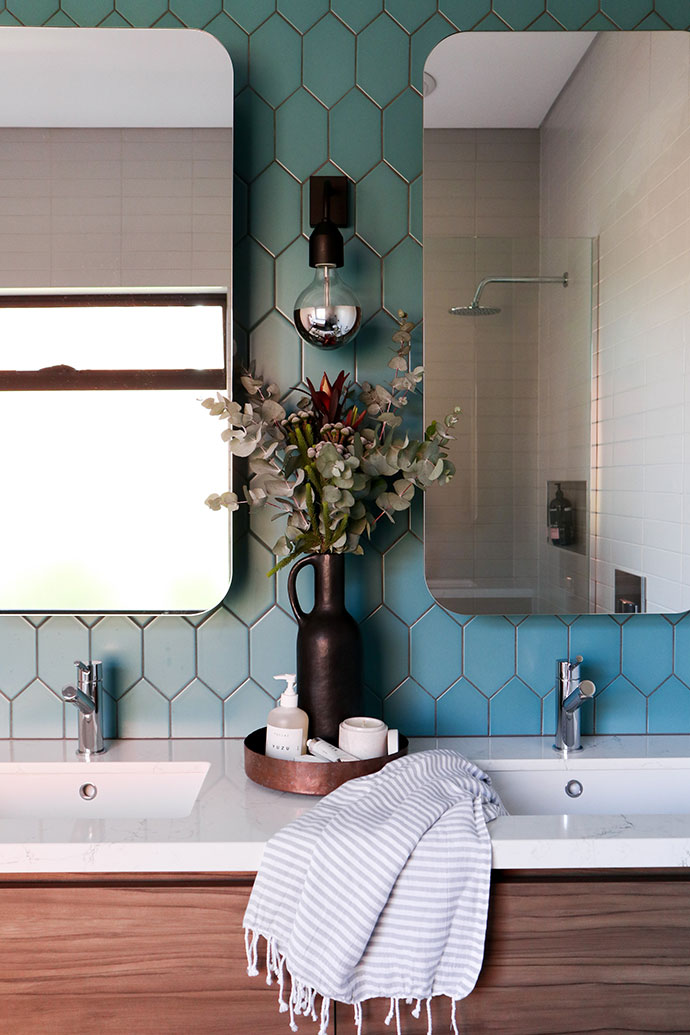 Bathroom vanity with teal tiles - mypoppet.com.au