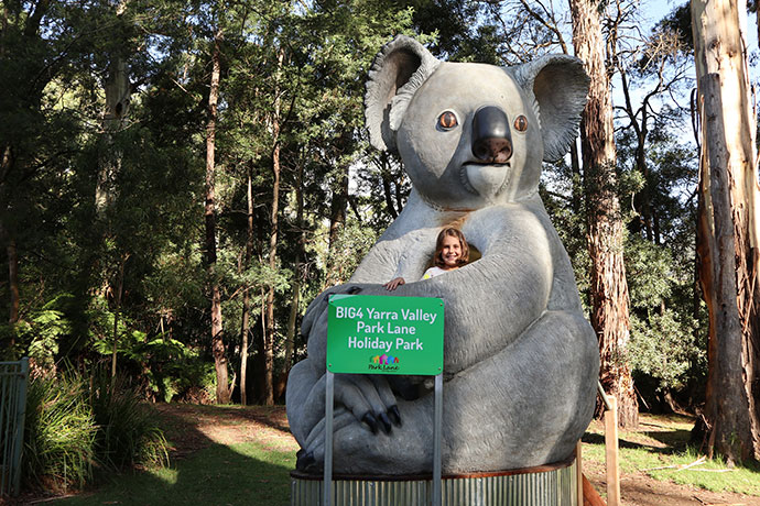 Giant Koala Kids of all ages will enjoy the playground areas at the Yarra Valley Park Lane Holiday Park.
