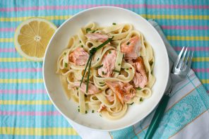 Salmon Fettuccine with Lemon, Cream & Chive Sauce
