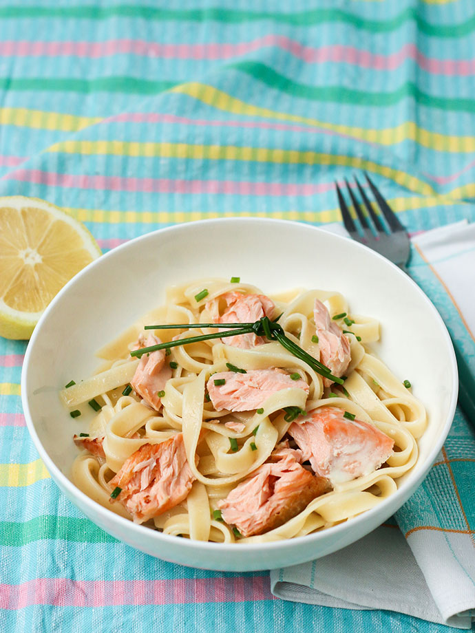 Salmon fettuccine with lemon cream sauce recipe - mypoppet.com.au