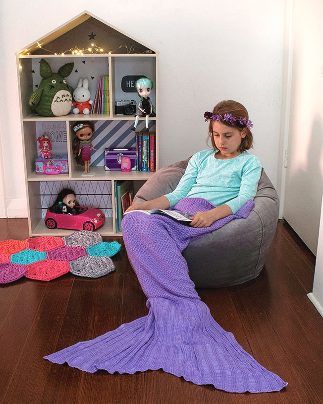 Mermaid tail blanket - play corner idea - mypoppet.com.au