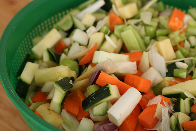 Chopped up vegetables for soup Multipurpose Dicer ALDI Special Buy