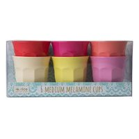 Rice Melamine Cup Mugs Set of 6 Medium in Sunny Colors