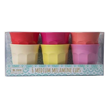 Rice Melamine Cup Mugs Set of 6 Medium in Sunny Colors