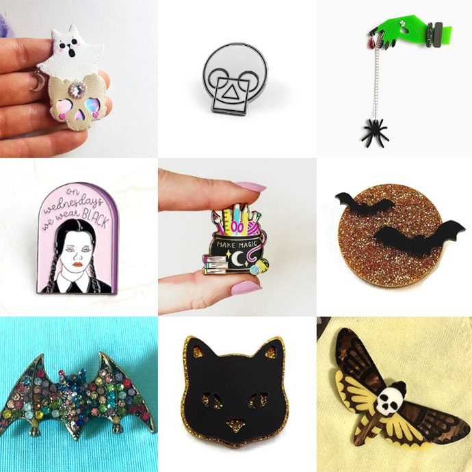 Etsy Shopping Guide - Halloween Brooches Halloween Pins - mypoppet.com.au