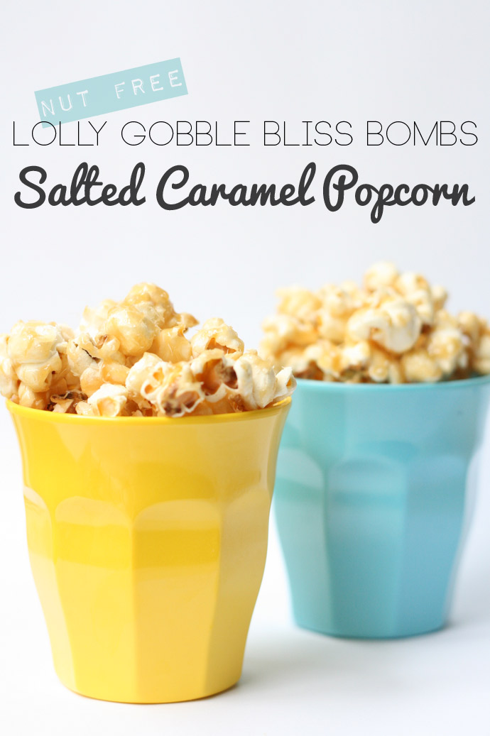 The tastiest caramel popcorn ever and it tastes just like the Australian favourite Lolly Gobble Bliss Bombs but without the peanuts.