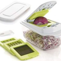 Brieftons QuickPush Food Chopper: Strongest & 200% More Container Capacity, 30% Heavier Duty, Onion Chopper, Kitchen Vegetable Dicer, Fruit and Cheese Cutter, with 3 Dicing Blades & Keep-Fresh Lid