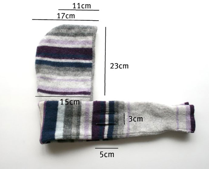 child size hoode scarf measurements