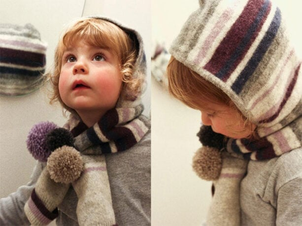 how to make a scarf with hood - girl wearing a hooded scarf