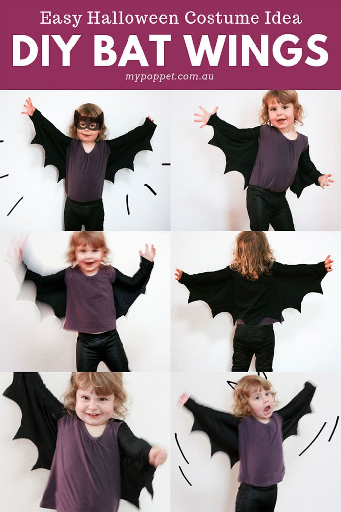 Easy Halloween Costume Idea DIY Bat Wings - mypoppet.com.au