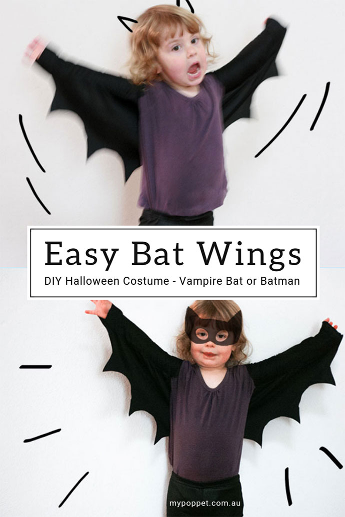 How to make Bat wings Kids Halloween costume - mypoppet.com.au