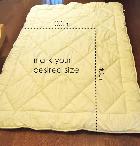 Make a toddler size duvet from a twin single quilt - mypoppet.com.au