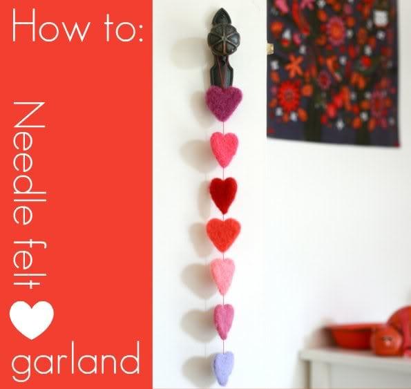 Needle felt Heart Garland - mypoppet.com.au