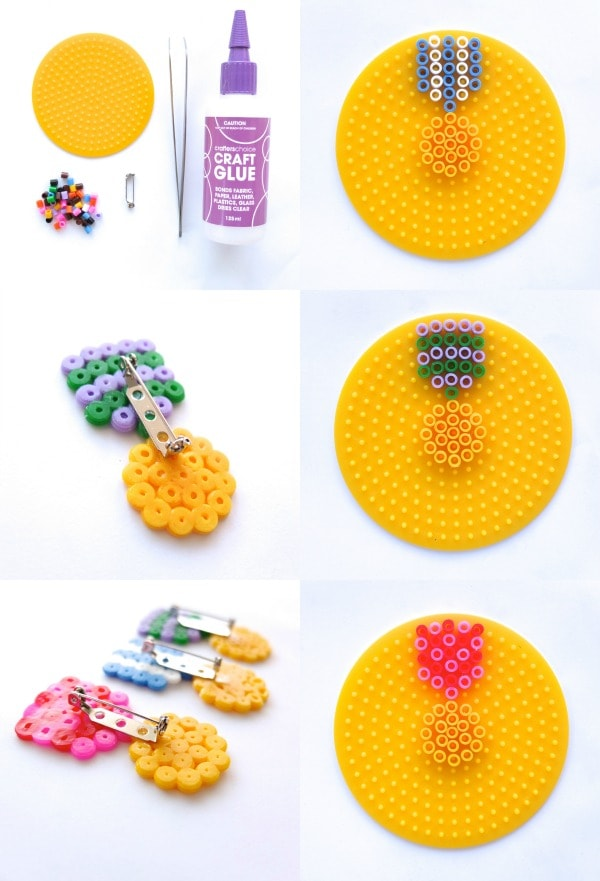 Make a Faux Medal Brooch with fuse beads pattern - mypoppet.com.au
