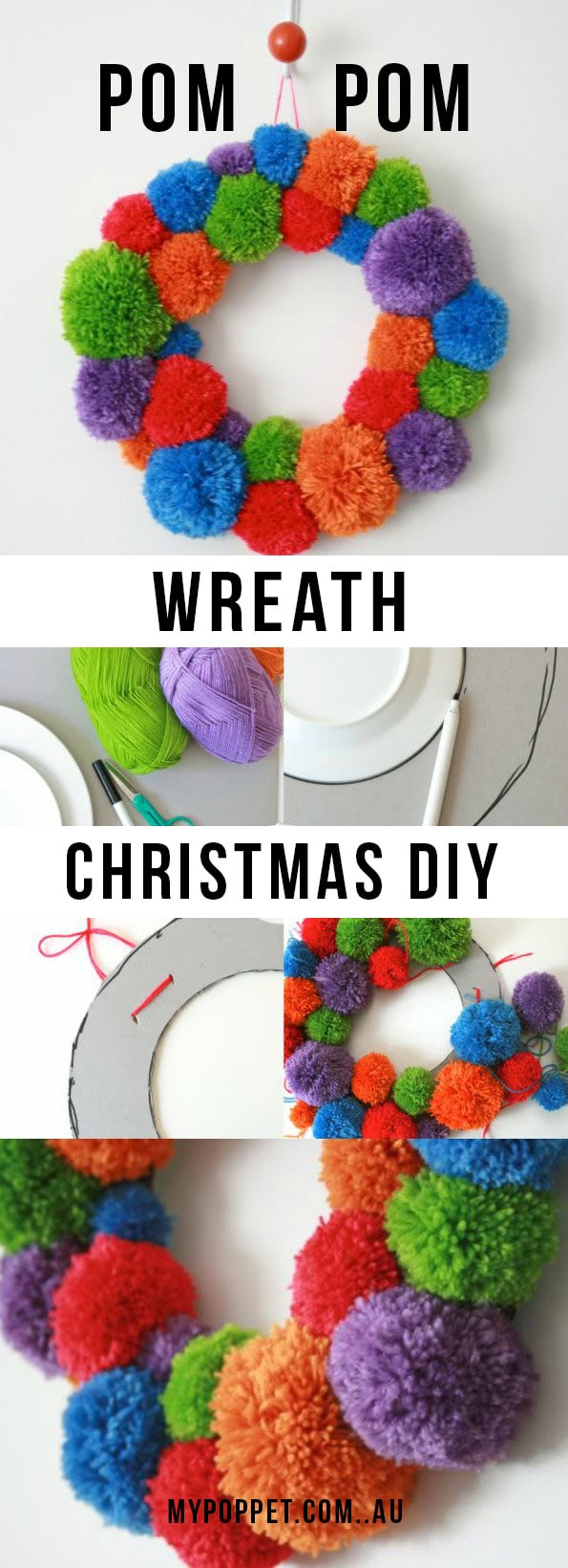 How to make a Pom Pom Wreath for the Holidays - Christmas Craft mypoppet.com.au