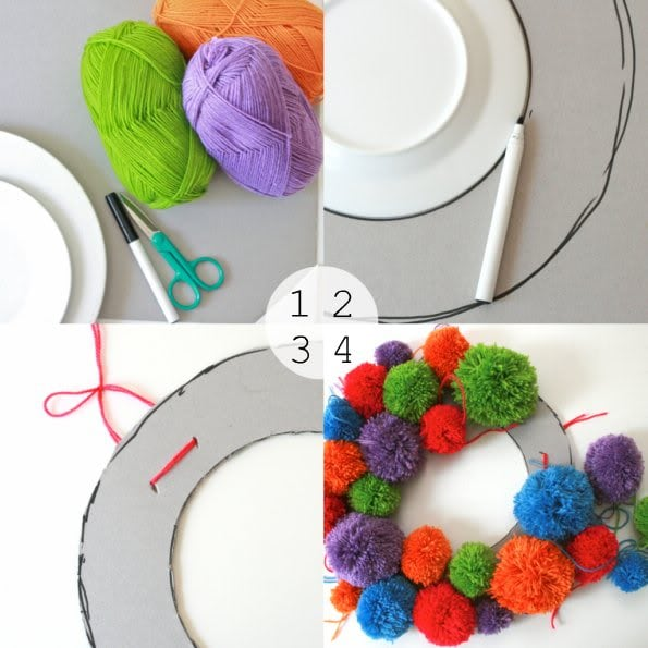 How to make a pom pom wreath - mypoppet.com.au