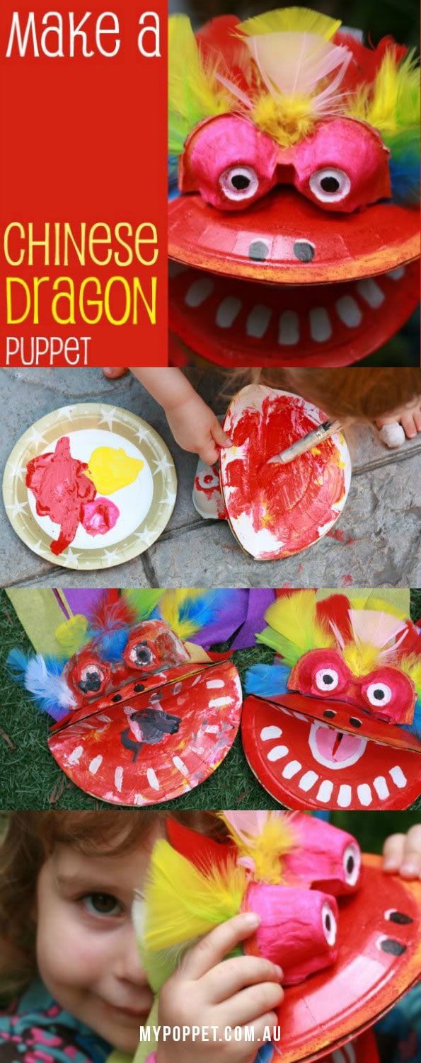 Chinese New Year Dragon Puppet Kids Craft - Mypoppet.com.au