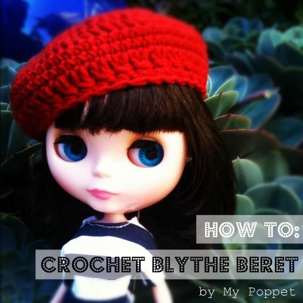 Crochet Blythe doll beret hat pattern