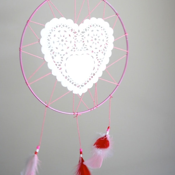 valentine heart dream catcher