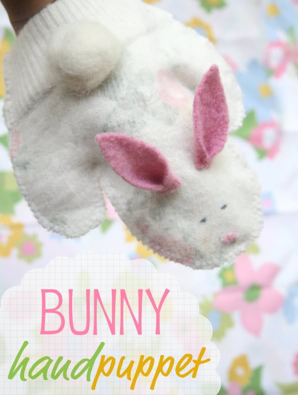 wool bunny hand puppet