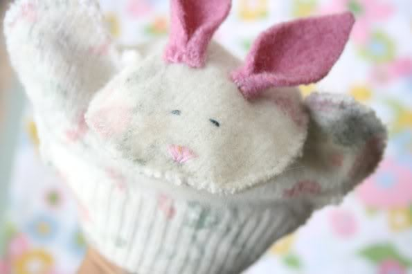 Upcycled sweater bunny puppet - mypoppet.com.au